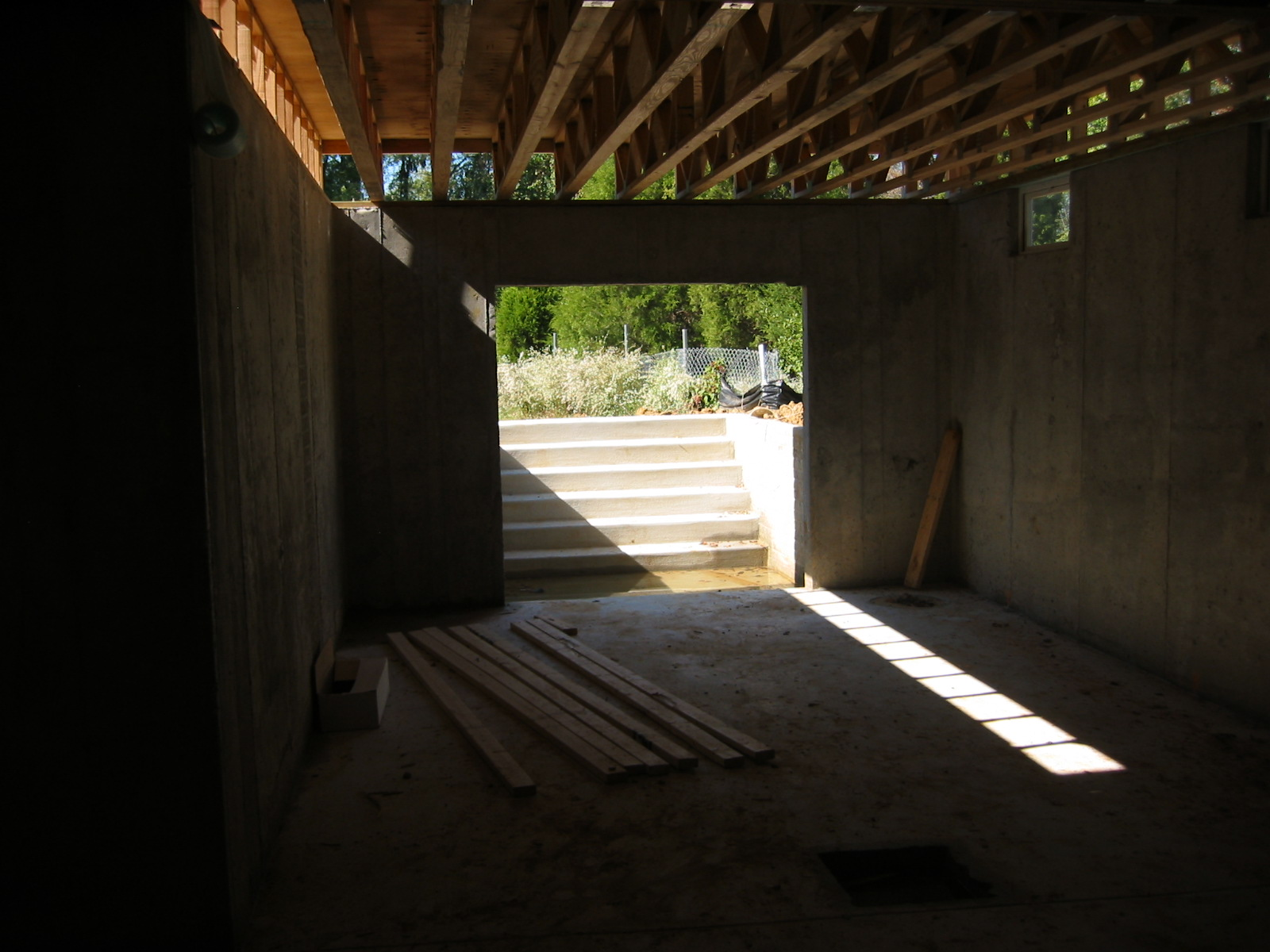 walk up out basement stairs and door opening