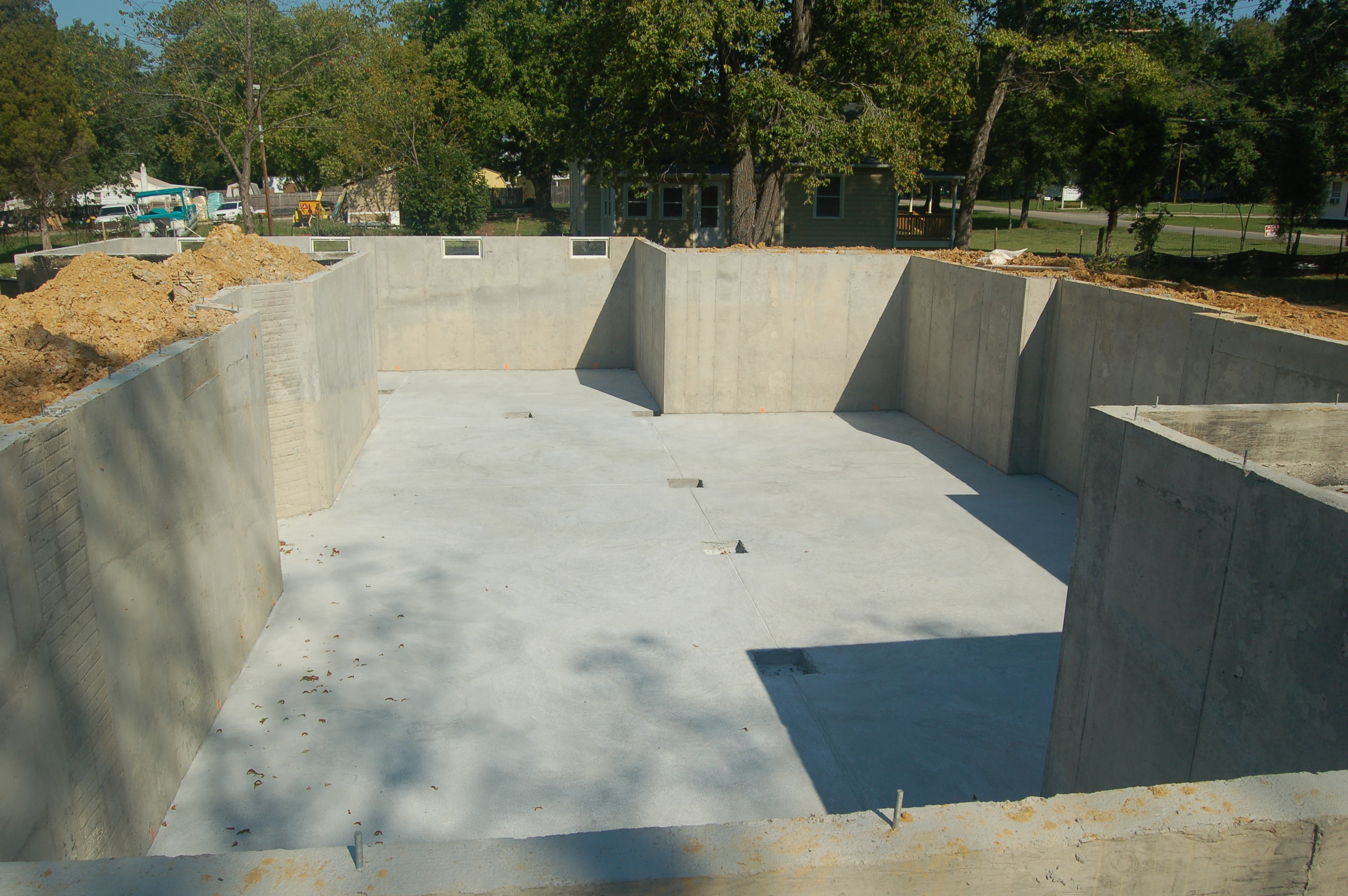 basement walls and slab